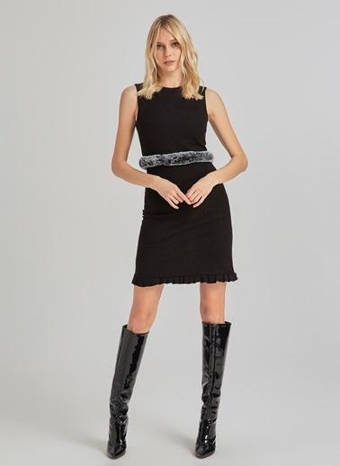 People By Fabrika Etekleri Detaylı Kolsuz Elbise Siyah